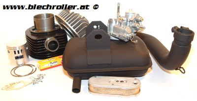 * DR 177 Stecktuning Satz mit Rennzylindersatz + Vergaser + Auspuff + Kleinteilen für alle Big Frame Vespa 125/150