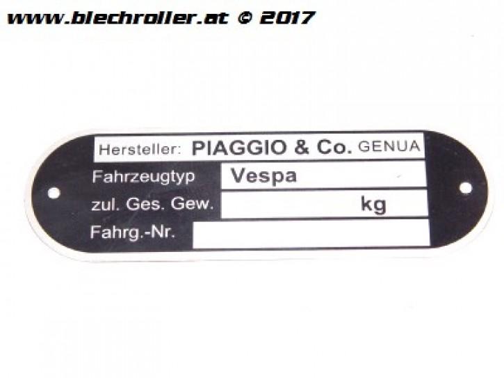 "Typenschild ""PIAGGIO&CO.Genova"" für Vespa alle dt. Modelle `67->/alle ital. Modelle"