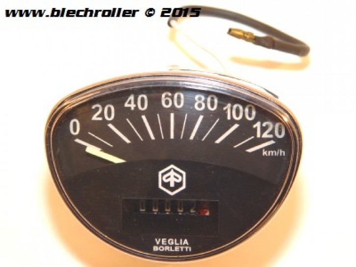Tachometer PIAGGIO Vespa SS50/SS90/PV/ET3/Super/ SprintV/GTR/TS/Rally - schwarz - Schraubwelle