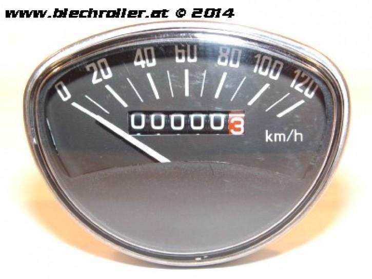 Tachometer Vespa SS50/SS90/PV/ET3/Super/ SprintV/GTR/TS/Rally - schwarz - Schraubwelle