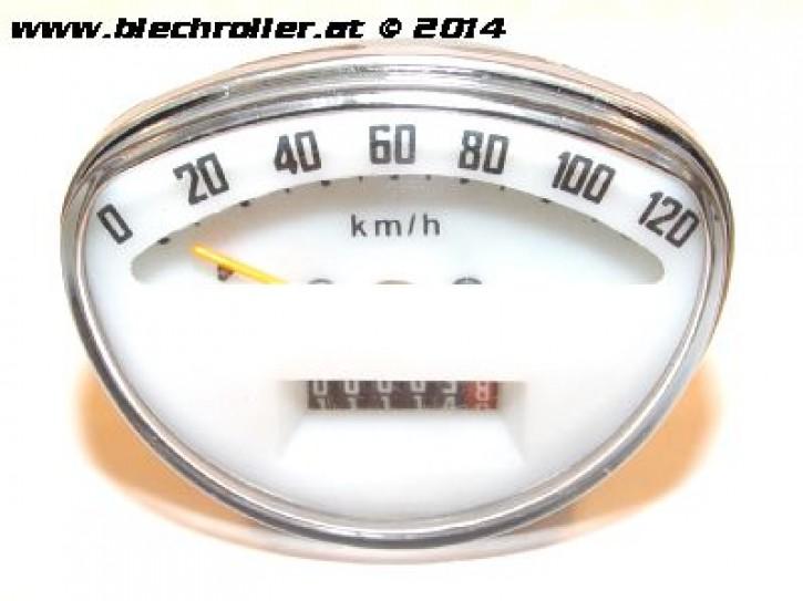 Tachometer Vespa SS50/SS90/125/PV/ET3/Super/Sprint V/GTR/TS/Rally - weiß/cream - Schraubwelle