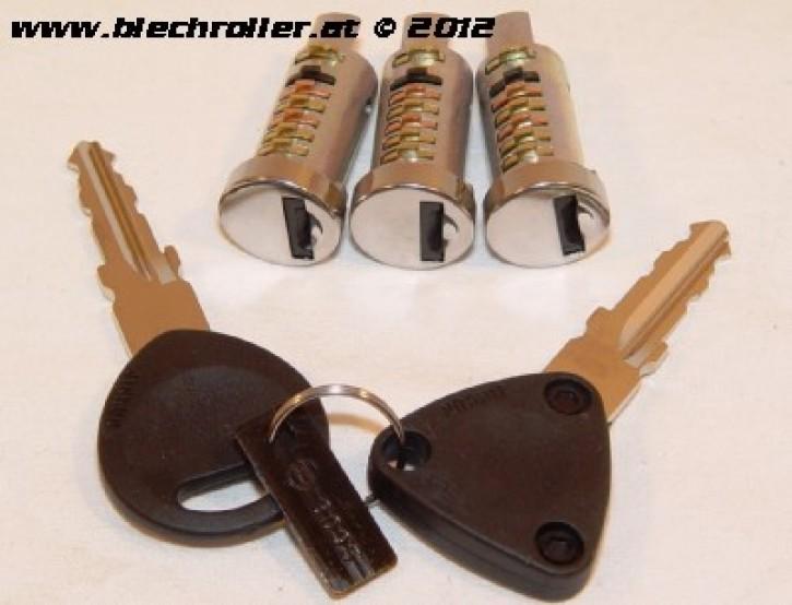 Schließzylinder SET Vespa PK50-125/S/XL/XL2/Automatica/PX80-200/PE/Lusso/98/MY/`11/T5/Cosa - mit 3 Schließzylinder