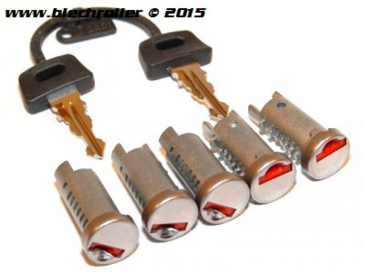 Schließzylinder SET Vespa PK50-125/S/XL/XL2/Automatica/PX80-200/PE/Lusso/98/MY/`11/T5/Cosa - mit 5 Schließzylinder