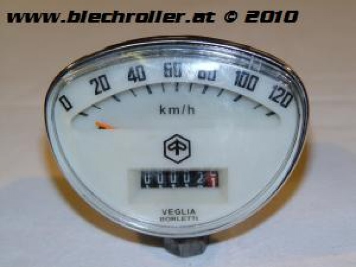 Tachometer PIAGGIO Vespa SS50/SS90/PV/ET3/Super/ SprintV/GTR/TS/Rally - weiß/cream - Schraubwelle