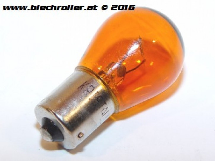 Kugelbirne 12V/21W, Sockel:BA15S (große Kugel)  - Leuchtfarbe: gelb/orange