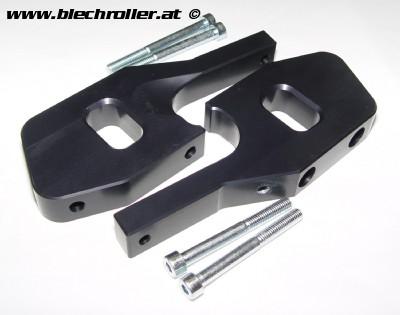 Fußrastenadapter Sozius CNC Vespa GT, GTL, GTS, GTV 125-300 - aluminium schwarz eloxiert