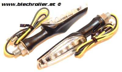 """Blinker Universal LED """"Koso-Style"""" komplett,  weiß für vorne oder hinten (2 Stück)"""