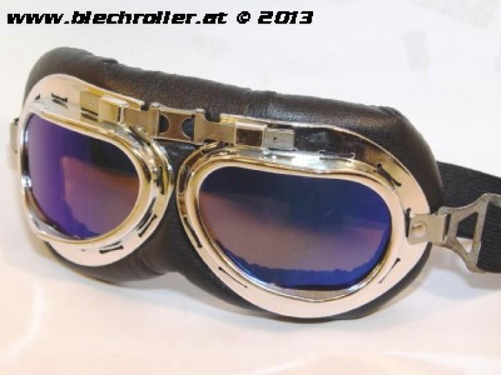 Retro Fliegerbrille Schwarz/Chrom