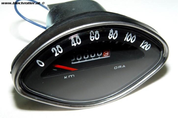 Tachometer Vespa 125 VBA/150 VBB/VGLA-B/GT/150 GL/GS/Sprint/160 GS/180 SS - Ziffernblatt: Schwarz