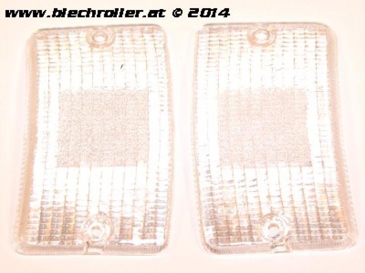 * Blinkerglas Kit BOSATTA vorne links/rechts, für Vespa PK50-125 XL /RUSH /XL2 /N/FL/HPL - Weiß