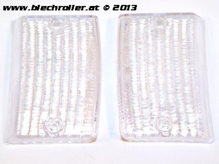 * Blinkerglas Kit BOSATTA vorne links und rechts, für Vespa PK 50 -125 S/SS/Lusso/Automatica - Weiß