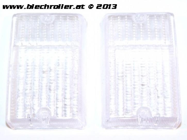 * Blinkerglas Kit BOSATTA hinten links und rechts, für Vespa PK 50 -125 S/SS/Lusso/Automatica - Weiß