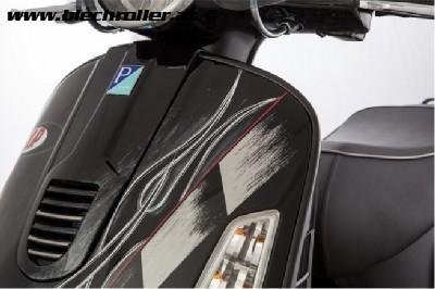 Monoschlitzrohr Beinschild Links für Vespa GTS/GTS Super/GTV/GT 60/GT/GT L 125-300ccm (bis Bj. 2018) - Schwarz matt