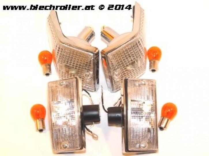 Blinker KIT vorne & hinten, für Vespa PX80-200/PE /Lusso/T5/LML Star Deluxe - Weiß mit Chromgehäuse