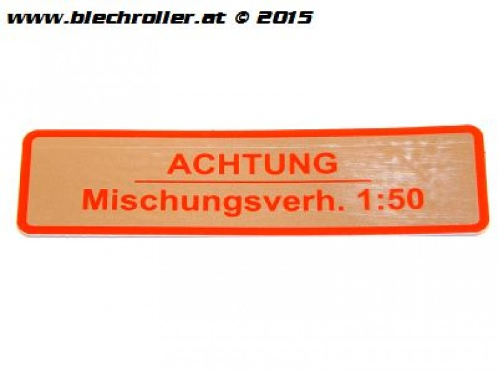 "Aufkleber ""Achtung Mischungsverh.1:50"" für Vespa 50-125/PV/ET3/ 125 VNB-TS /150 VBA-Super/Rally /PX/PE - Rot"