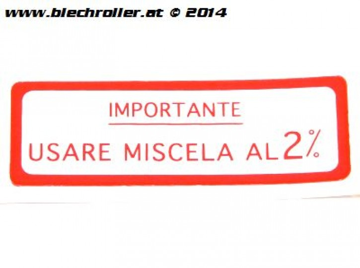 "Aufkleber ""Usare Miscela al 2%"" für Vespa 125 VNB/150 VBA/VBB/GL - Rot"