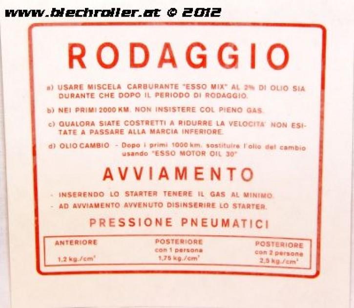 Aufkleber Einfahrvorschrift für Vespa rot