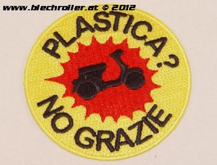 """Aufnäher """"PLASTICA? NO GRAZIE"""