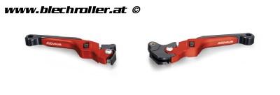 Bremshebel-Set REMUS, einstellbar für Vespa GT, GTL, GTS 125-300 - Rot eloxiert