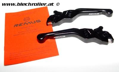 Bremshebel-Set REMUS, einstellbar für Vespa GT, GTL, GTS 125-300 - Schwarz eloxiert