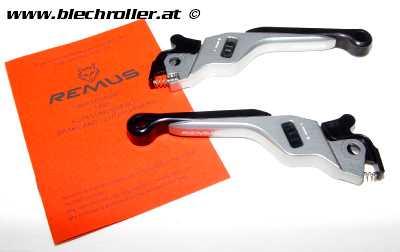 Bremshebel-Set REMUS, einstellbar für Vespa GT, GTL, GTS 125-300 - Titan eloxiert