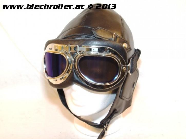Fliegermütze Retrostyle + Retro Fliegerbrille Schwarz/Chrom