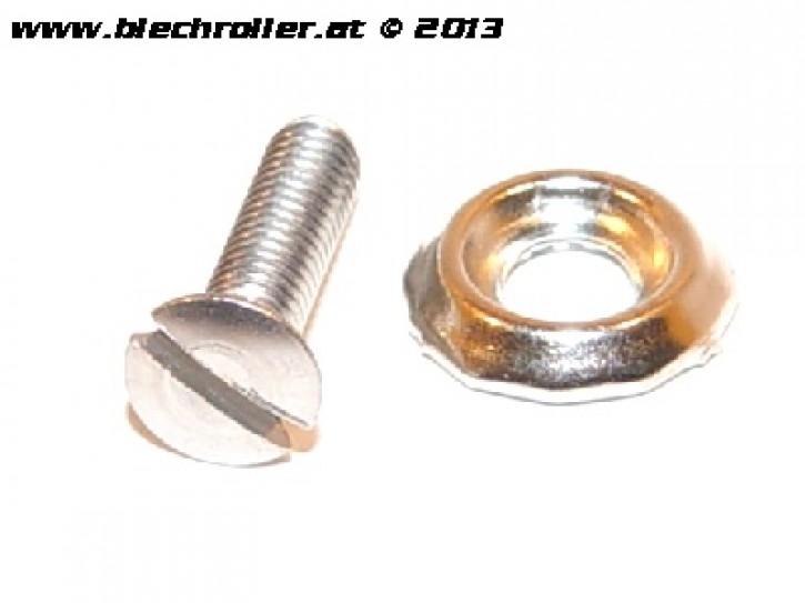 Schraube M4x16mm, Vespa Linsen-Senkkopf, mit Rosette für Scheinwerfer/Chromring etc.