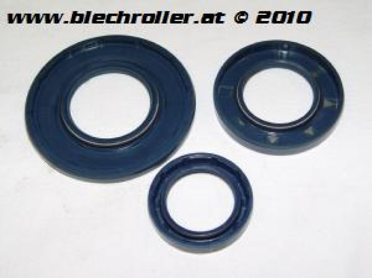 Simmeringsatz für Vespa 125 GTR 3°/TS 2°/150 Sprint V 3°/200 Rally 2°/PE u. PX80-200E 1° - blau-blau-blau