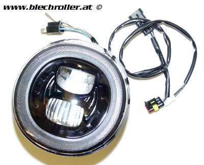 Scheinwerfer MOTO NOSTRA LED HighPower für Vespa GT/GTS/GTL/GTS 125-300 (-2018) - schwarzer Reflektor