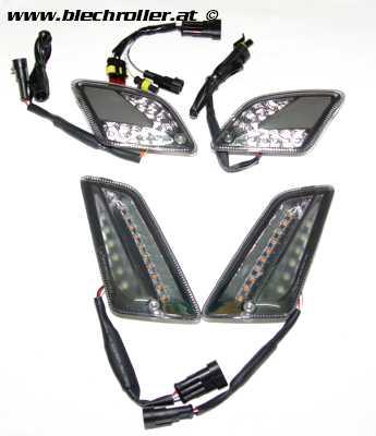 Blinker-Set vorne+hinten -MOTO NOSTRA dynamisches LED Lauflicht, Tagfahrlicht vorne + Positionslicht hinten für Vespa GTS 125-300 HPE (2019-) - smoked