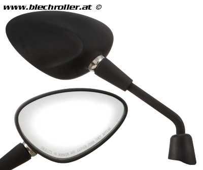 """Spiegel """"Shorty"""" rechts und links, Nierenform für Vespa Sprint 50-150ccm 2T/4T - Schwarz matt"""