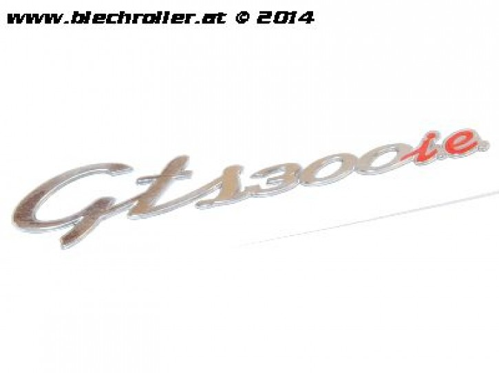 "Schriftzug ""GTS 300 i.e."", Seitenhaube für Vespa GTS 300ccm - Chrom/Rot"