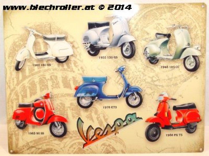 Vespa Collage - Blechschild