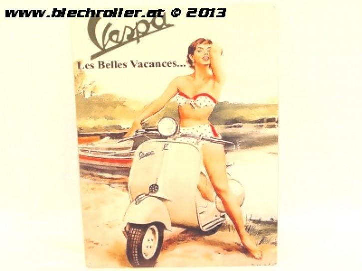 Vespa Les Belles - Blechschild