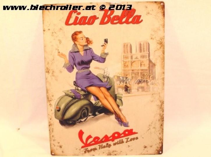 Vespa Ciao Bella - Blechschild