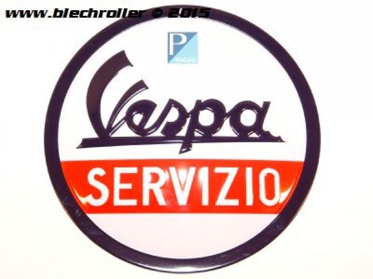 Vespa Servizio - Blechschild rund