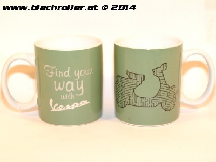 "Tasse ""VESPA FIND YOUR WAY"" grün mit Griff"