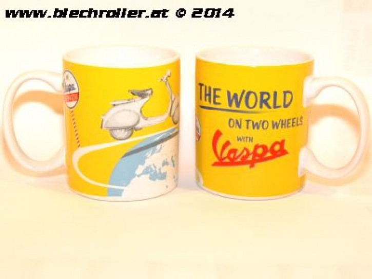 "Tasse ""THE WORLD ON TWO WHEELS WITH VESPA"" gelb mit Griff"