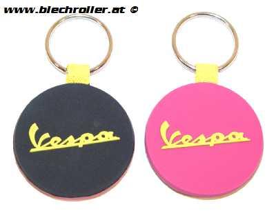 """Schlüsselanhänger """"Vespa"""" Silkon, Schwarz/Pink"""